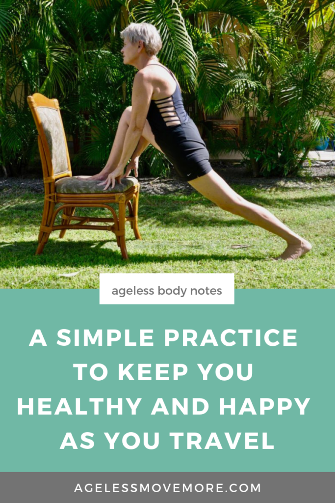 Don't let traveling disrupt your routine and your workout! Try this simple practice to stay happy and healthy while you travel. Click through to read more on the blog. #travel #practiceselflove #aginggracefully #ageisjustanumber #traveltips